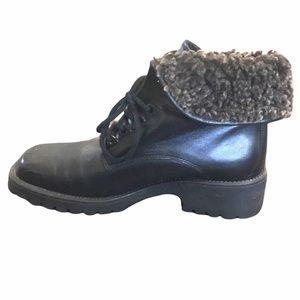 Leather lace up boots faux fur platform 8